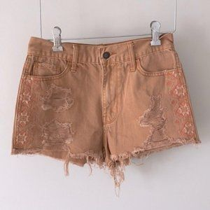 Hollister Destructed Embroidered Shorts Clay 25